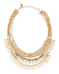 Lydell Nyc Golden Multi Strand Crystal Chain Necklace Crystal Cl