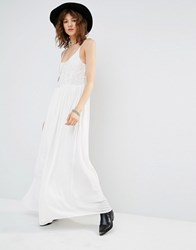 Mango Lace Bodice Chiffon Maxi Dress Cream