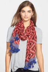 Lucky Brand Ikat Print Scarf Red