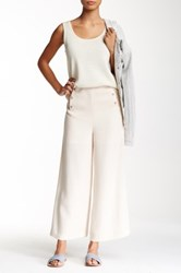 Modern Vintage Buttoned Wide Leg Pant White