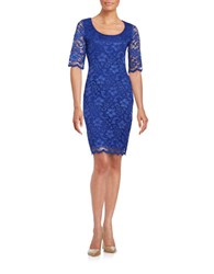 Badgley Mischka Platinum Scoop Neck Lace Dress Royal Blue