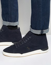 Boss Orange By Hugo Suede High Top Trainers Navy