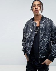New Look Oversized Bomber With Print In Black Black