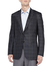 Brioni Plaid Two Button Jacket Olive Blue Green