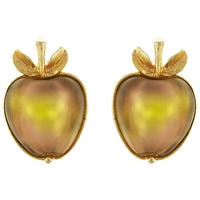 Eclectica Vintage 1960S Sarah Coventry Apple Clip On Earrings Peach