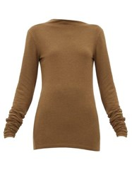 Christophe Lemaire Asymmetric Neck Stretch Jersey Sweater Dark Brown