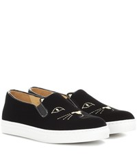 Charlotte Olympia Cool Cats Velvet Slip On Sneakers Black