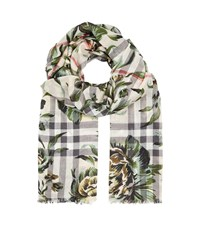 Burberry Shoes And Accessories Roses And House Check Print Gauze Scarf Female Green