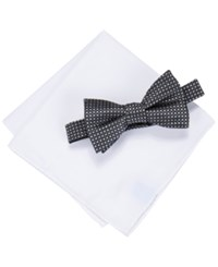 Countess Mara Men's Two Tone Dot Bow Tie And Pocket Square Set Black
