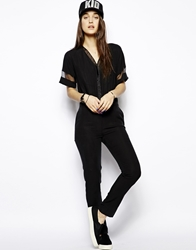 Eleven Paris Jumpsuit With Sheer Detail Black
