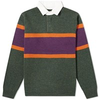 Beams Plus Knit Rugby Shirt Green