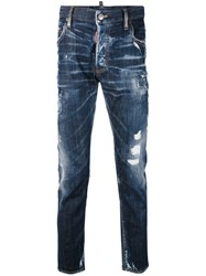 Dsquared2 Denim Distressed Jeans Men Cotton Calf Leather Polyester Spandex Elastane 52 Blue
