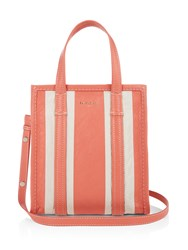 Balenciaga Bazar Mini Leather Tote Pink Stripe