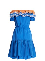 Peter Pilotto Pallas Off The Shoulder Cotton Dress Blue