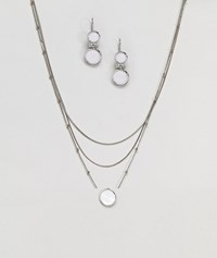 Ny Lon Nylon Multi Layered Necklace And Stone Detail Earring Gift Set Silver
