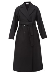 Red Valentino Redvalentino Belted Double Breasted Wool Blend Coat Black