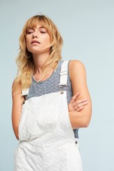 Anthropologie Embroidered Floral Overalls White