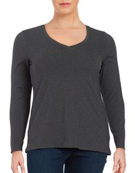 Lord And Taylor Plus Compact Long Sleeve Tee Graphite Heather