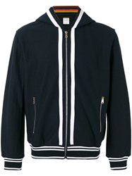 Paul Smith Striped Detail Zipped Hoodie Blue