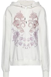 Dolce And Gabbana Woman Embroidered French Cotton Terry Hoodie Ecru
