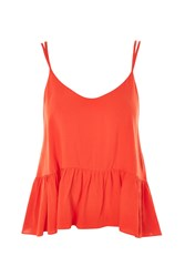 Topshop Relaxed Peplum Camisole Top Red