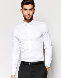Asos Skinny Shirt In Satin Touch With Long Sleeves White