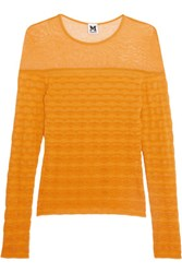 M Missoni Mesh Paneled Crochet Knit Top Saffron