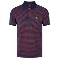 Lyle And Scott Mouline Stripe Polo Shirt Navy Red