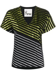 8Pm Panelled Striped T Shirt Black