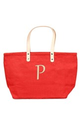Cathy's Concepts 'Nantucket' Monogram Jute Tote Red