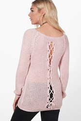 Boohoo Lace Up Back Slouchy Jumper Blush