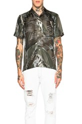 Palm Angels All Over Leaves Print Button Down In Green Abstract Floral