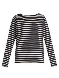Mih Jeans Simple Striped Cotton Jersey Top Blue White