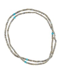 Bavna Long Labradorite And Turquoise Beaded Necklace 32 L