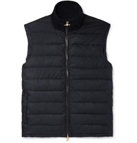 Dunhill Leather Trimmed Quilted Shell Down Gilet Navy