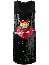 Love Moschino Sequinned Logo Motif Dress Black