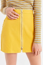 Urban Outfitters Uo Adonita Zip Front Mini Skirt Gold