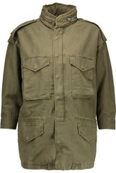 Nlst Cotton Blend Hooded Jacket Army Green