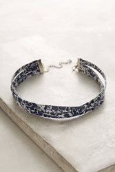 Anthropologie Tri Strand Leather Choker Necklace Blue
