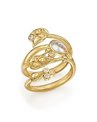 Temple St. Clair 18K Yellow Gold Royal Blue Moonstone And Diamond Leaf Ring White Gold