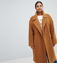 Missguided Plus Longline Borg Coat In Brown Red