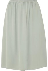 Theory Silk Crepe Skirt Green