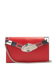 Gucci Lilith Mini Snakeskin Trimmed Leather Shoulder Bag Red