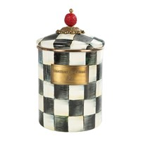 Mackenzie Childs Courtly Check Enamel Canister Black And White
