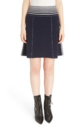 Loewe Women's Stripe Knit Skirt Navy White