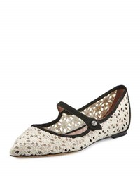 Tabitha Simmons Hermione Daisy Crocheted Mary Jane Flat White
