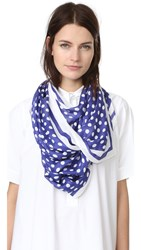 Kate Spade Polka Dot Stripe Oblong Scarf Nightlife Blue