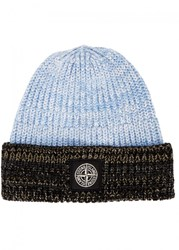 Stone Island Light Blue Melange Cotton Beanie