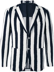 Tagliatore Striped Blazer Men Cotton Cupro 48 Black