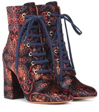 Etro Exclusive To Mytheresa Paisley Velvet Ankle Boots Multicoloured
